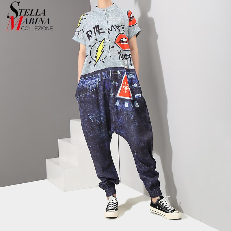 2019 Korean Style Short Sleeve Women Denim Harem Romper Jumpsuit Letter Pattern Printed Lady Big Size Hippie Loose Overalls 3576 Y19042003