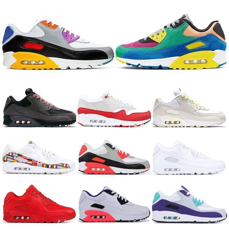 90 erkek tasarımcı koşu ayakkabıları erkekler kadınlar gündelik 30. yıldönümü Viotech Gerçek kızılötesi siyah beyaz, kırmızı, mavi üzüm spor ayakkabı 36-45 Be