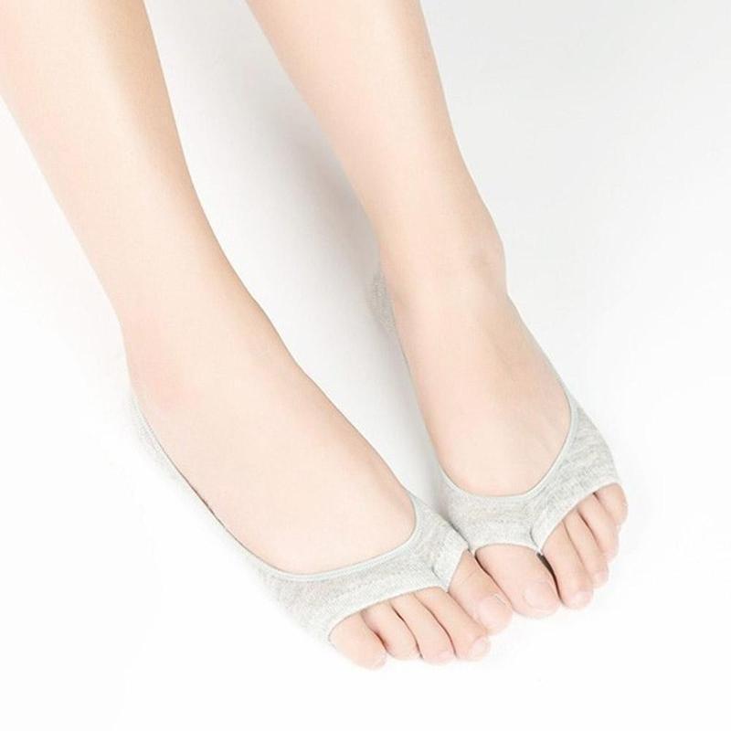 6 Farben Mode-Sommer-neue geöffnete Zehe Socken 1 Paar Frauen Antiskid unsichtbare Liner Baumwollmischung Low Cut Socken für High Heel