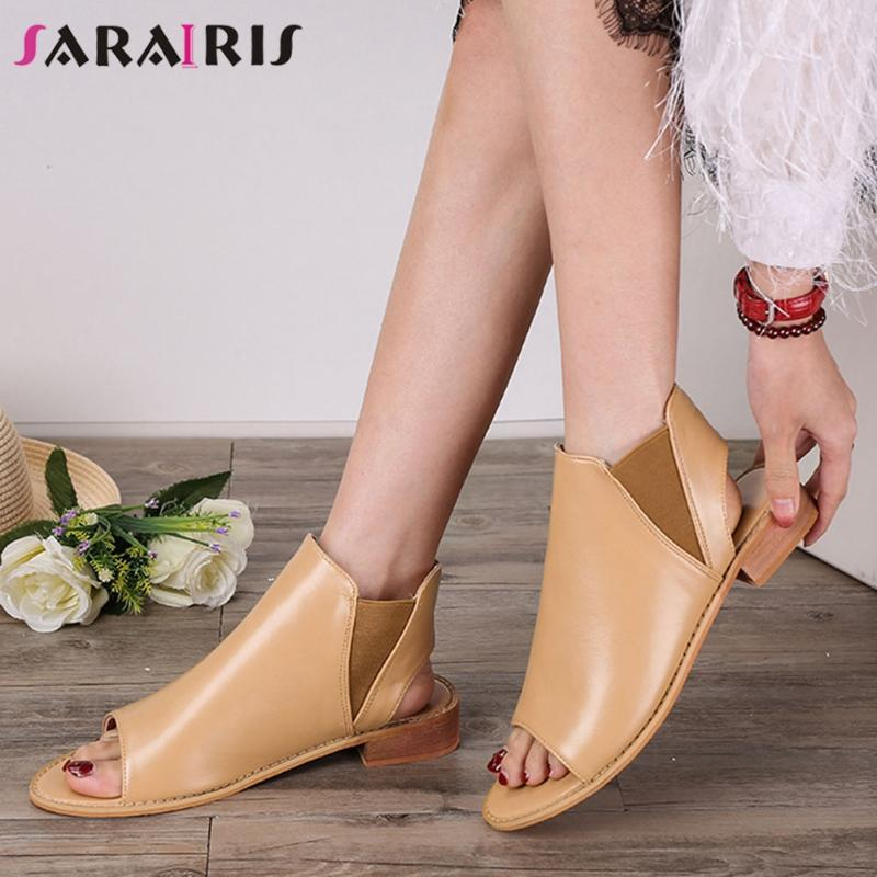 SARAIRIS 2020 Summer Anix Dress Sandals New Ins Hot Retro Piep Toe Sandals Women Low Hollows Field Gladiator Shoes