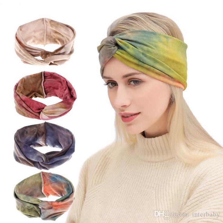 Bantlar Kravat-Boya Yıkanmış Saç Bandı Bohemian Twisted Düğümlü Türban Kızlar Vintage Spor Bandı Moda Headwrap Saç Aksesuarları CLS773