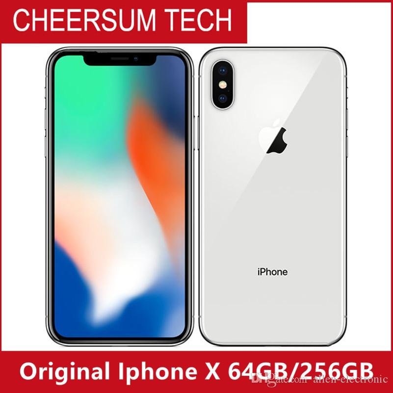 Original Unlocked Apple iPhone X 4G LTE cellphone 5.8'' 12.0MP 3G RAM 64G/256G ROM Face ID refurbished Cellphone free DHL