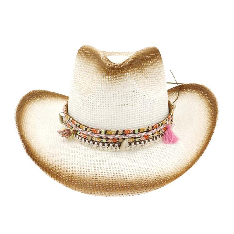Kadınların saman # YL5 için Erkekler Kadınlar Retro Batı kovboy Binme Şapka Deri Kemer Geniş Brim kap Hat kaliteli Klasik Cap şapkalar