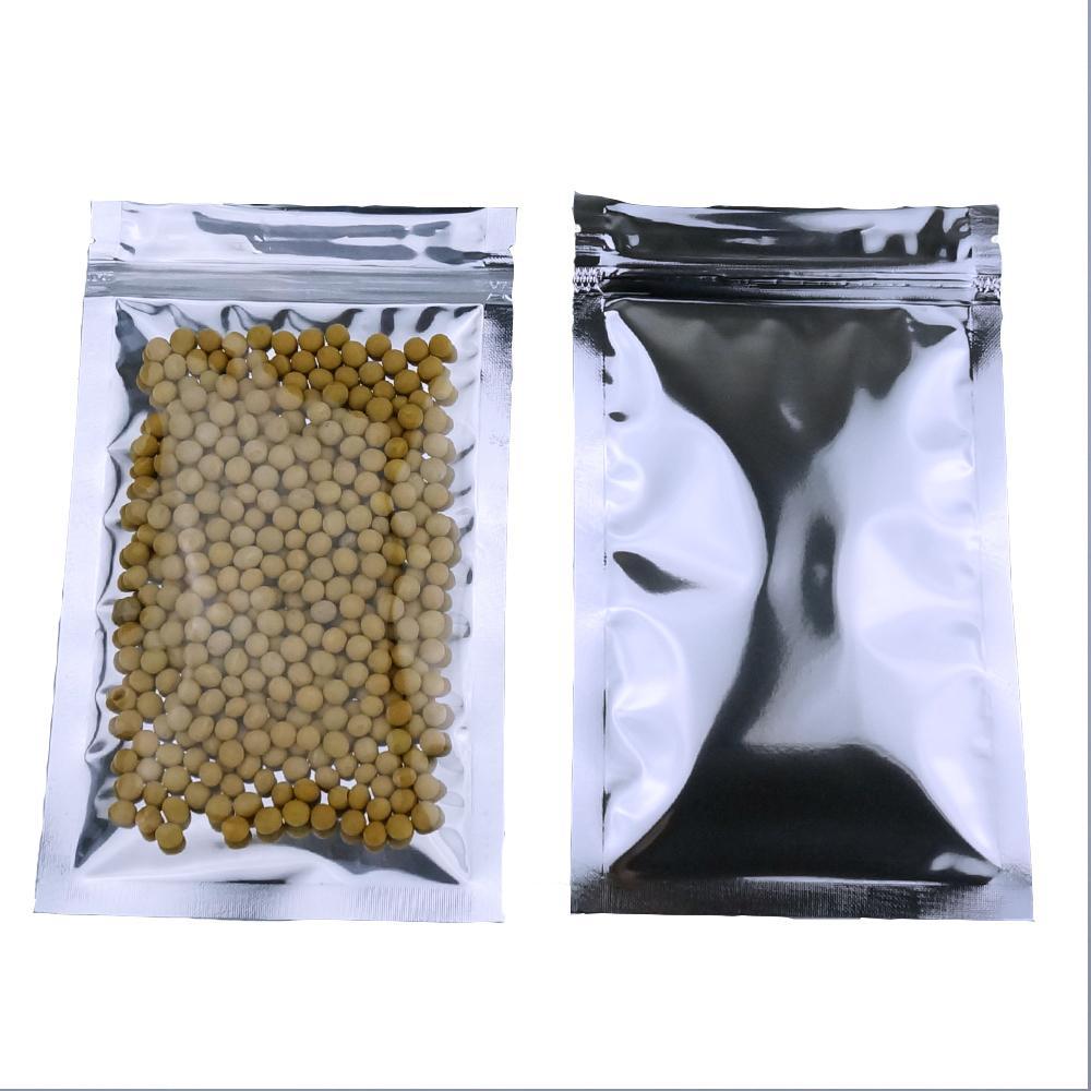 7 * 13cm, 200pcs X 반투명 도금 알루미늄 지 플락 백 - 전면 클리어와 재 밀폐성 알루미늄 마일 라일 플라스틱 주머니 지퍼 클립 인감