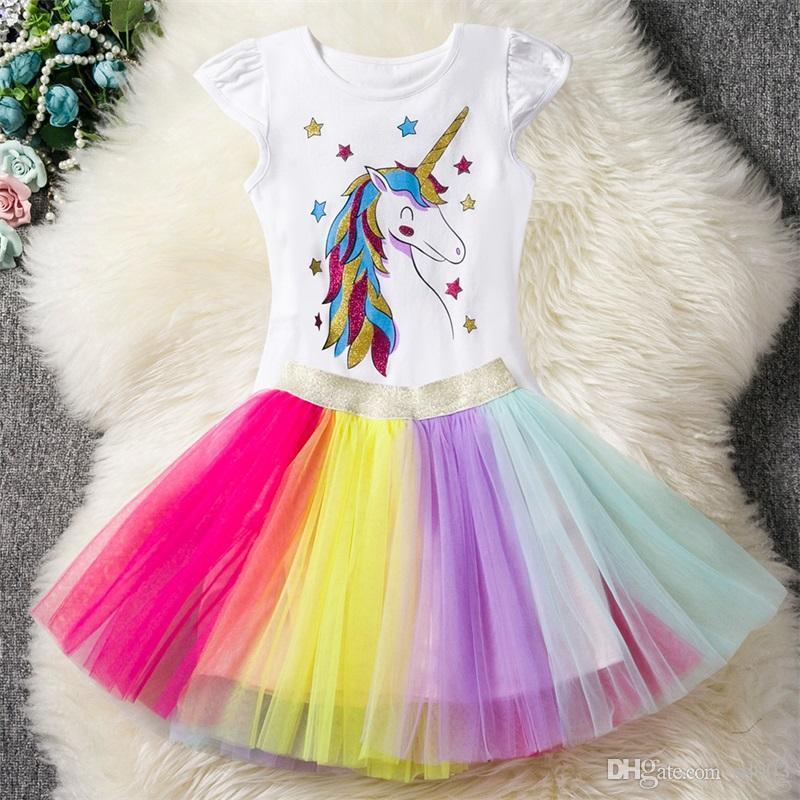 Lovely Girl unicornio Niño faldas de algodón Tops camiseta Tutús falda 2pcs Un traje de ventilación vestido de la princesa Casa Ropa 27xyE1