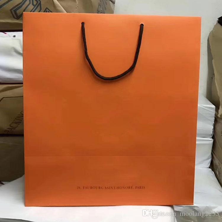 도매 고급 종이 가방 브랜드 쇼핑백 고품질 종이 선물 가방 무료 배송 29cm 32cm 43cm hadled 종이 봉투