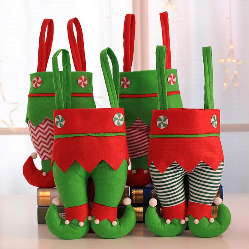 Inicio de ultramarinos bolsa de almacenamiento Dispensador de malla organizador de la cocina Decoración de Chirstmas Santa Claus regalo de caramelo de almacenamiento caja de la cesta