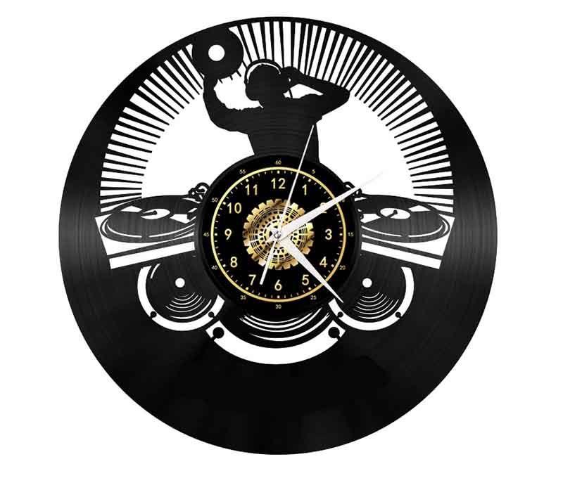 Musik-Vinyl Wanduhr Geschenk Zimmer Modernes Home Record Jahrgang Kreative Dekor-handgemachte Kunst-Personality-Geschenk (Größe: 12 Zoll, Farbe: Schwarz)