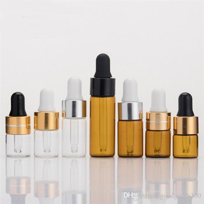 Caliente 1 ml 2 ml 3 ml 5 ml Mini marrón, aceite esencial transparente botella de vidrio puede ser personalizado logotipo SZ348