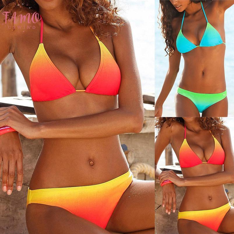 Donne brasiliane Sling bikini sexy di nylon 2020 dello Swimwear Halter della maglia delle parti superiori del costume da bagno costume da bagno Beach Femme Estate Suit W