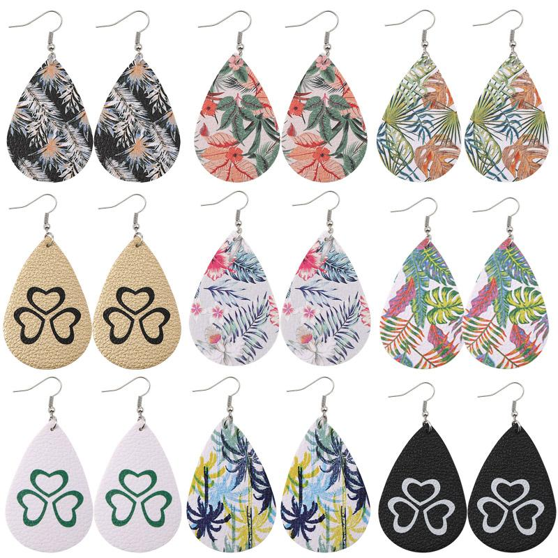 Flower Design Drop Earrings Faux Leather Dog Claw Print Waterdrop Dangle Earring Geometric Statement Jewelry Gift Light Weight