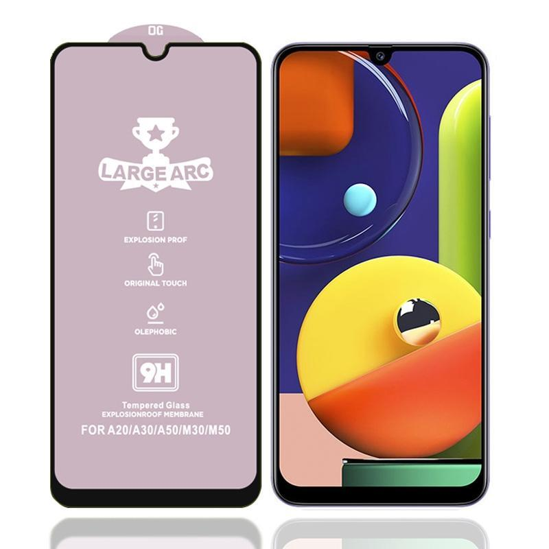 For Galaxy A50s 9H HD Large Arc High Alumina Full Screen Tempered Glass Film