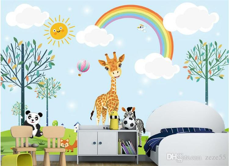 Custom Kindergarten Background Mural Wallpaper Fantasy Giraffe Panda Animal Forest Cartoon Children's Room 3D Wallpaper
