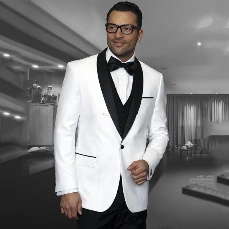 Nuovo stile One Button White Wedding Grooms Smoking Scial risvolto Groomsmen Uomo Abiti Prom Blazer (Jacket + Pants + Vest + Tie) 142