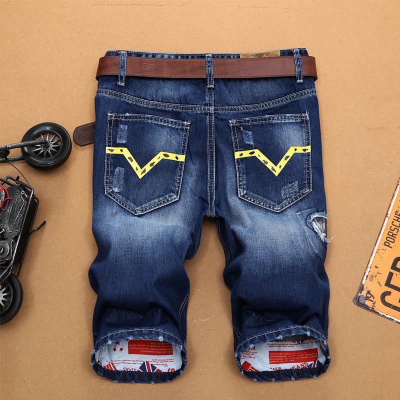 Cortas de verano hombres hombres pantalones cortos, pantalones cortos de diseñador azul rasgados moda jeans denim para el color superior 2021 longitud de la rodilla nbjnr