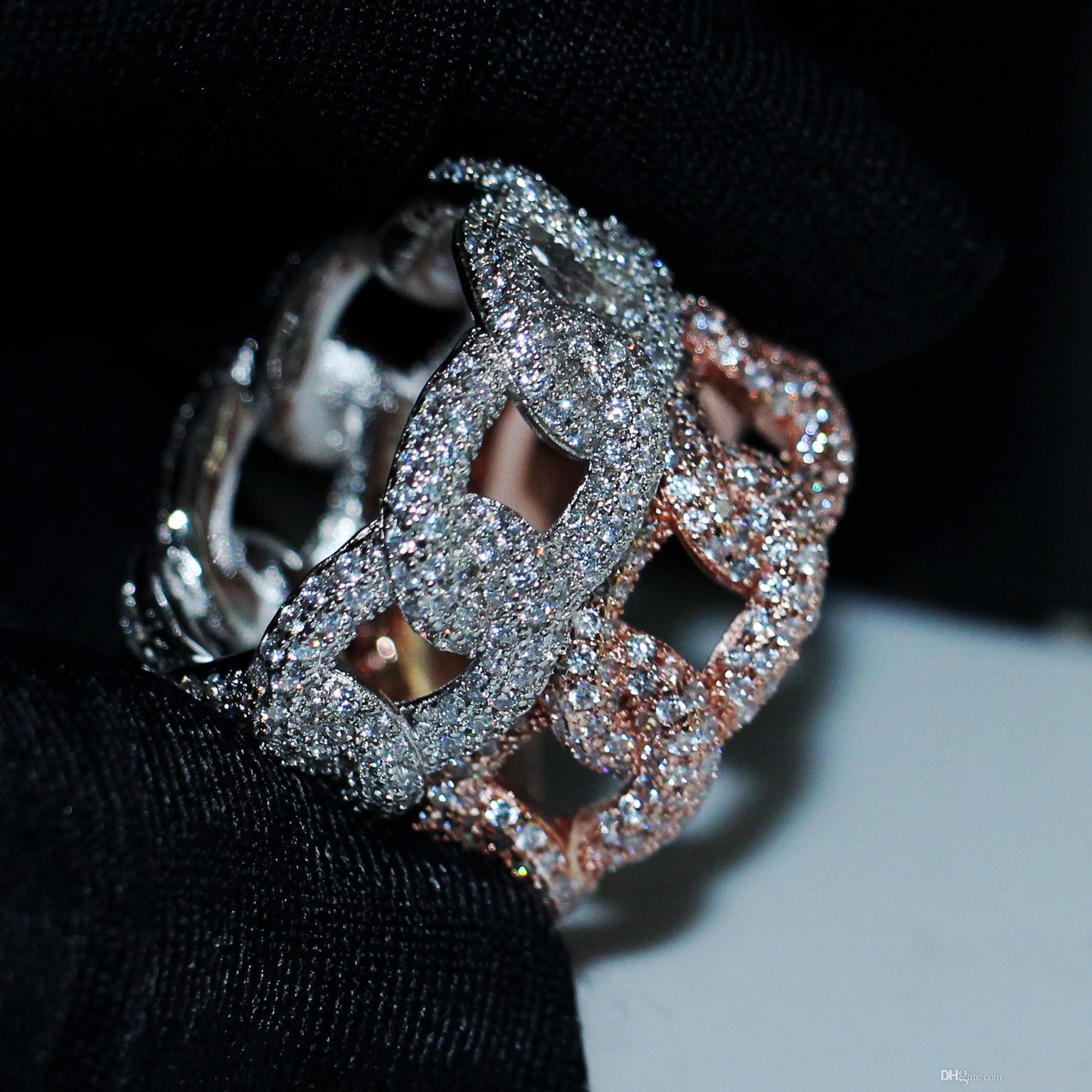 Hip Hop Vintage Mode Bijoux 925 SilverRose Or Fill Pave blanc Sapphire CZ diamant Parti Gemstones femmes mariage nuptiaux