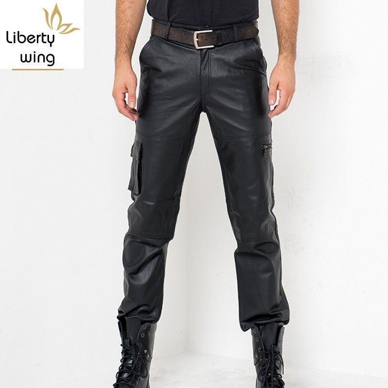 Calca Masculina Herbst Art und Weise beiläufige Hosen echtes Leder Street Motor-Art-Männer Klassische Reißverschluss Comfort Ganzkörper Pant