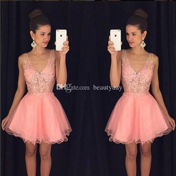Pink Short Homecoming Dresses 2019 Puffy Skirt Cocktail Party Dresses Lace Tulle See Through Arabic Mini Prom Dresses Graduation Gown