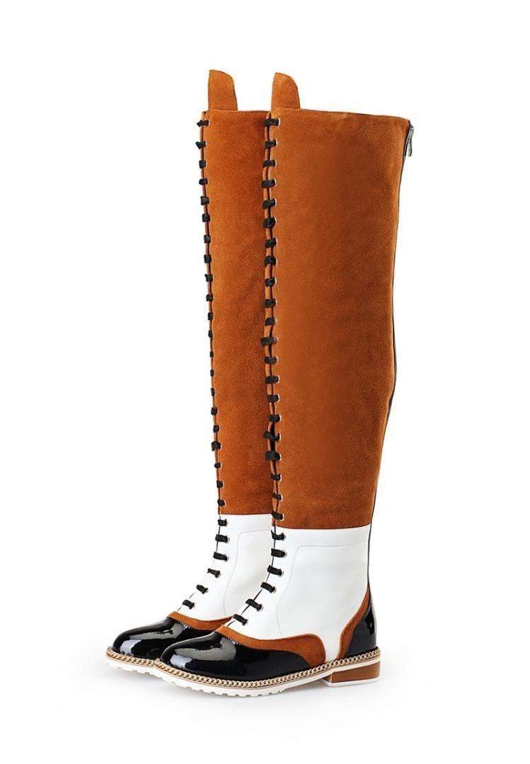 US4-11 женщин Круглый Toe над коленом Boots Узелок Совпадение цвета металла цепи полуботинок из натуральной кожи Назад Zipper обувь Plus Sz