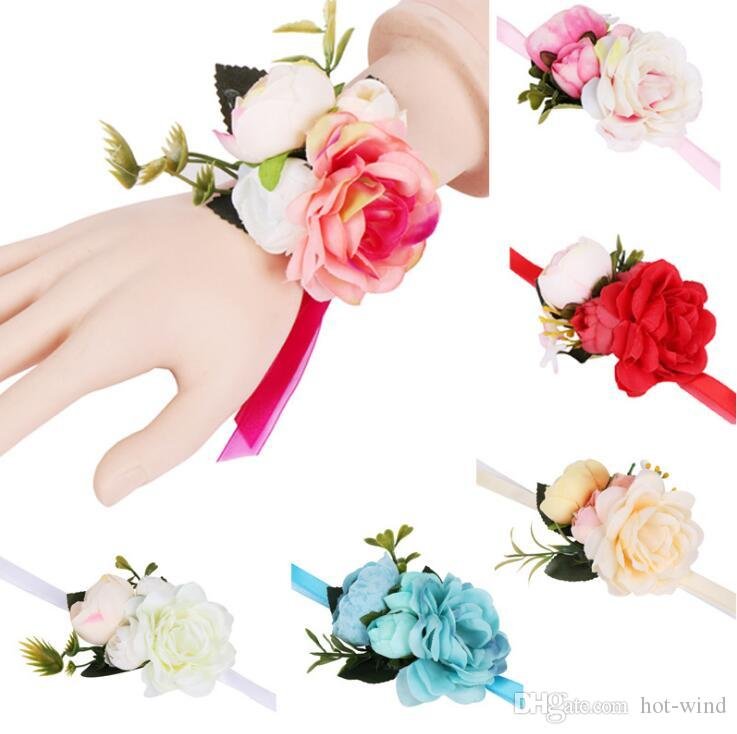 Cheap Hot Sale Wedding Bridesmaid Bride Wrist Corsage Woodland Corsage Bracelet for Wedding Prom Accessories Hand Flowers
