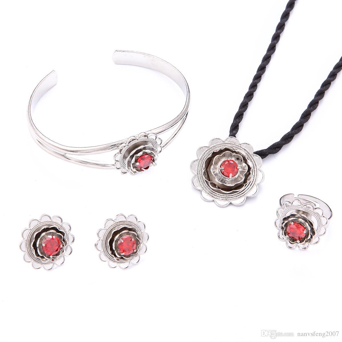 Hochzeit Set Schmuck Halskette Armband Ohrring Silber Braut Blume Mittlerer Osten Türkei Ägypten Afrika