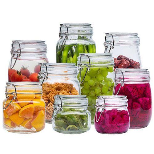 زجاجات تخزين الزجاج الجرار غطاء سعة كبيرة العسل الحلوى جرة المطبخ حاوية مختومة مع غطاء