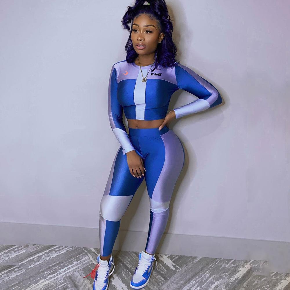 de fotos reais New Mulheres Blue Patchwork Yoga set roupa da aptidão Gym Treino manga comprida Correndo Set Casual Top + Leggings Atacado