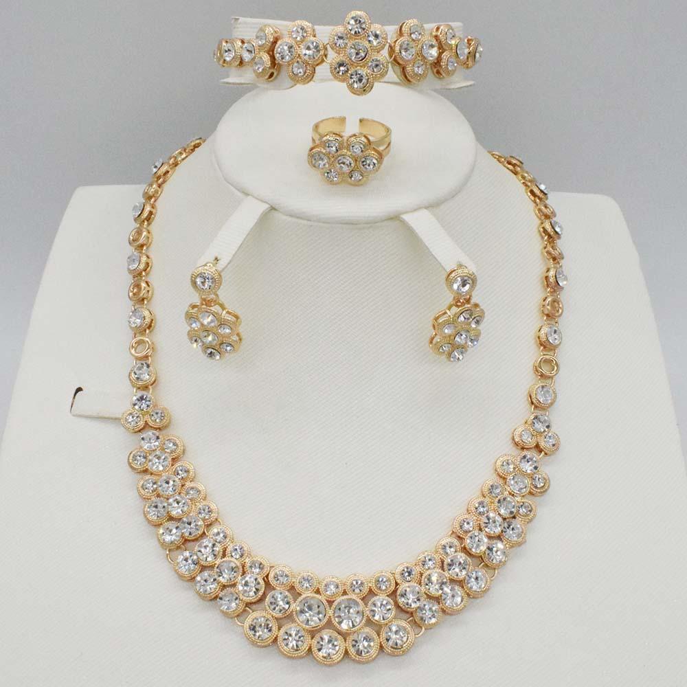Mode Hochzeit Braut Silber Schmuck Kristall Strass Halskette Ohrringe SAB