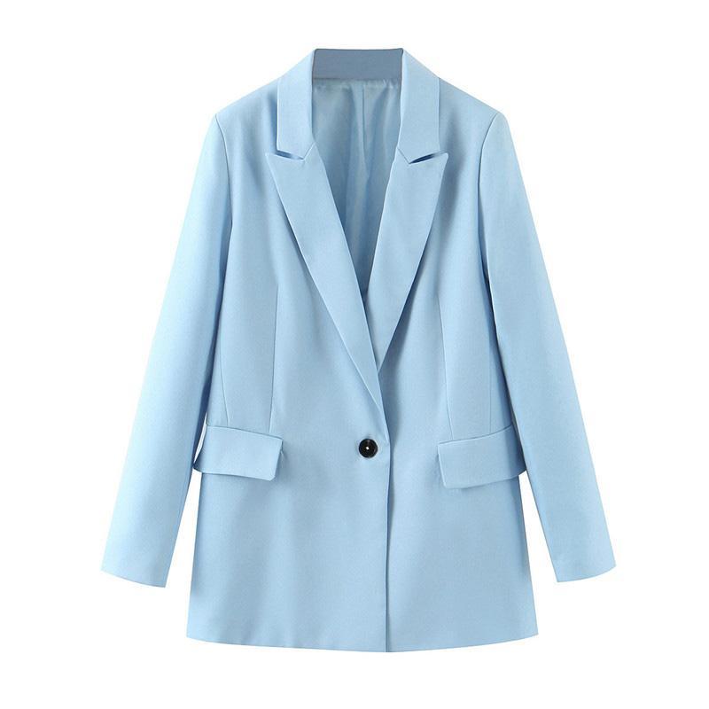 우아한 스카이 블루 사무실 숙녀 작업복 재킷 긴 소매 싱글 버튼 정기 맞춤 미니멀 2020 여성 가을 자켓 자켓