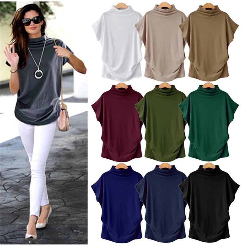 Женщины лето тенниска сплошного цвета Бэтмены рукав футболка Высокий воротник Streetwear тройник способ Based T Tops Casual Спортивная одежда Топы CZ611