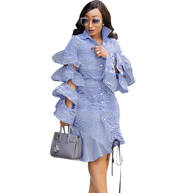 Blau gestreiftes unregelmäßiges Hemd Damenbekleidung Kleidung mit gefütterten Ärmeln Ärmel Knopfleiste Cord Party Freizeitkleidung Y19071001