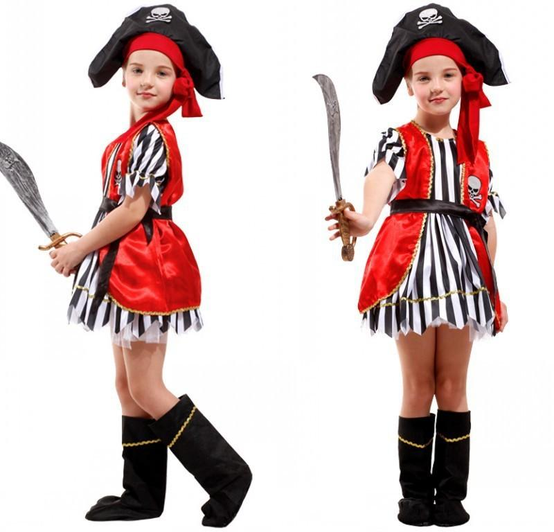 kids pirate clothing girls boy girl cosplay pirates in the caribbean captain jack sparrow halloween costume for kids dress