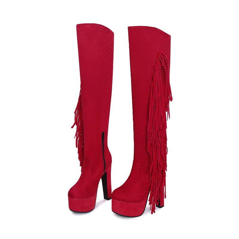 süper yüksek topuklu ayakkabılar sonbahar kış platformu botlar diz çizme kadınlar yuvarlak ayak üzerinde yüksek Sıcak satış-2019 yeni varış uyluk
