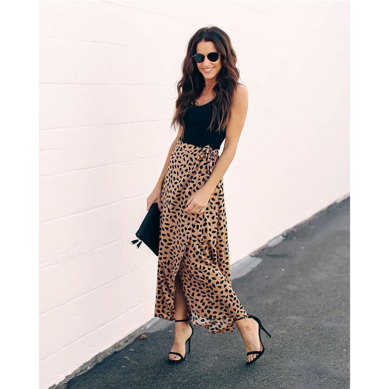 Meihuida Kadınlar Leopard Baskı Wrap Üzeri Aysmmetric Etek Yüksek Bel şifon Uzun Maxi Etek Ofis Lady Şık Etekler