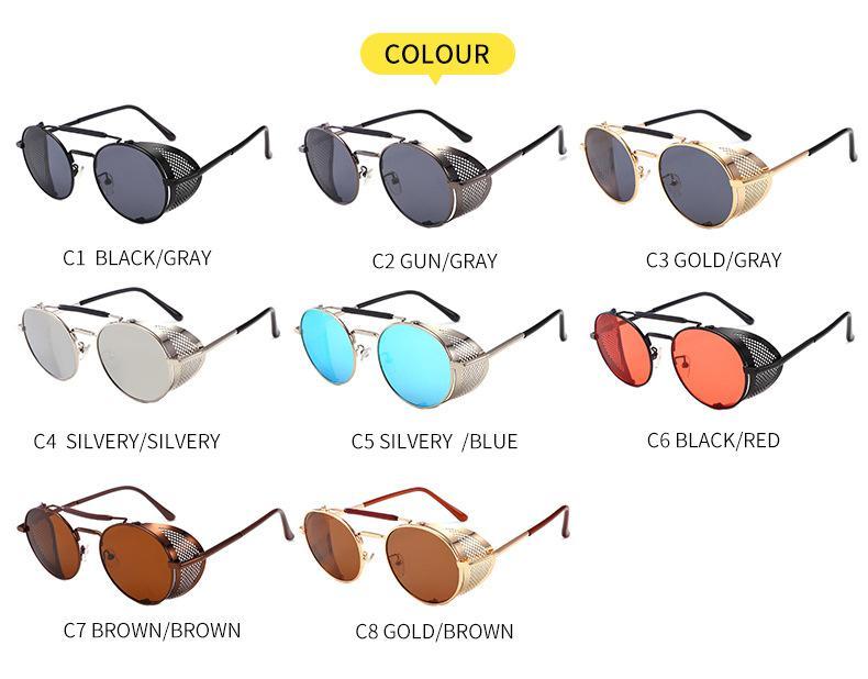 Luxus-Designer-Sonnenbrillen für Frauen-Männer Marken-Art- und Metallrahmen Side Runde Vintage Retro Steampunk Gothic Hippie Kreis Retro Glasses