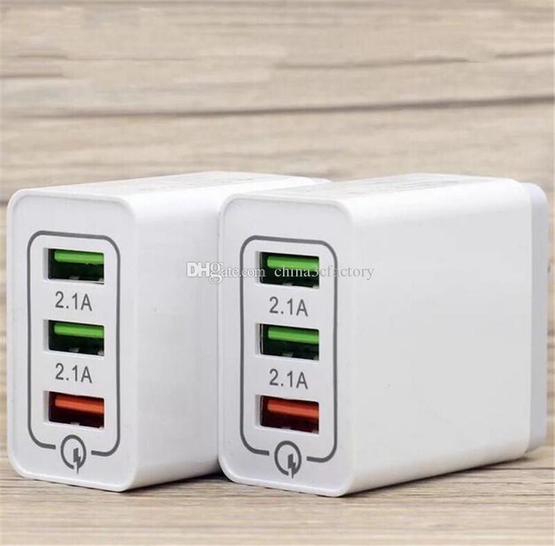 QC3.0 بسرعة 3 USB ميناء الشحن السريع الولايات المتحدة الاتحاد الأوروبي 2.1A التيار المتردد السفر منزل الجدار شاحن محول الكهرباء لفون سامسونج