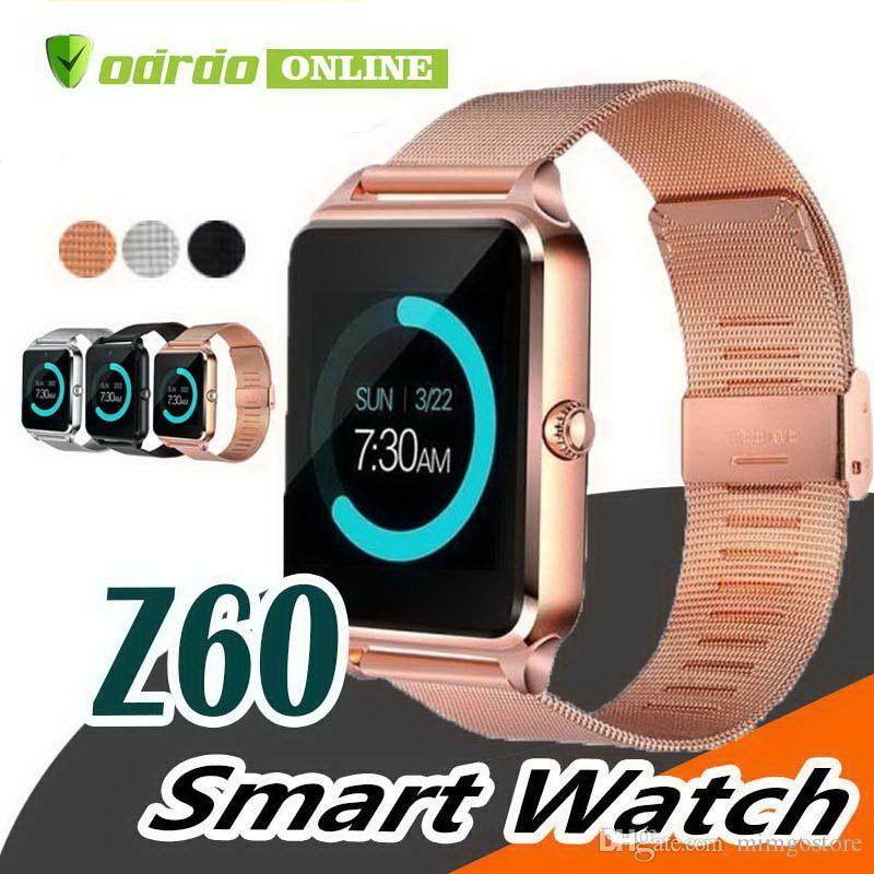 Hot bluetooth smart watch phone z60 suporte de aço inoxidável sim tf cartão câmera rastreador de fitness gt08 dz09 a1 v8 a1 smartwatch para ios android