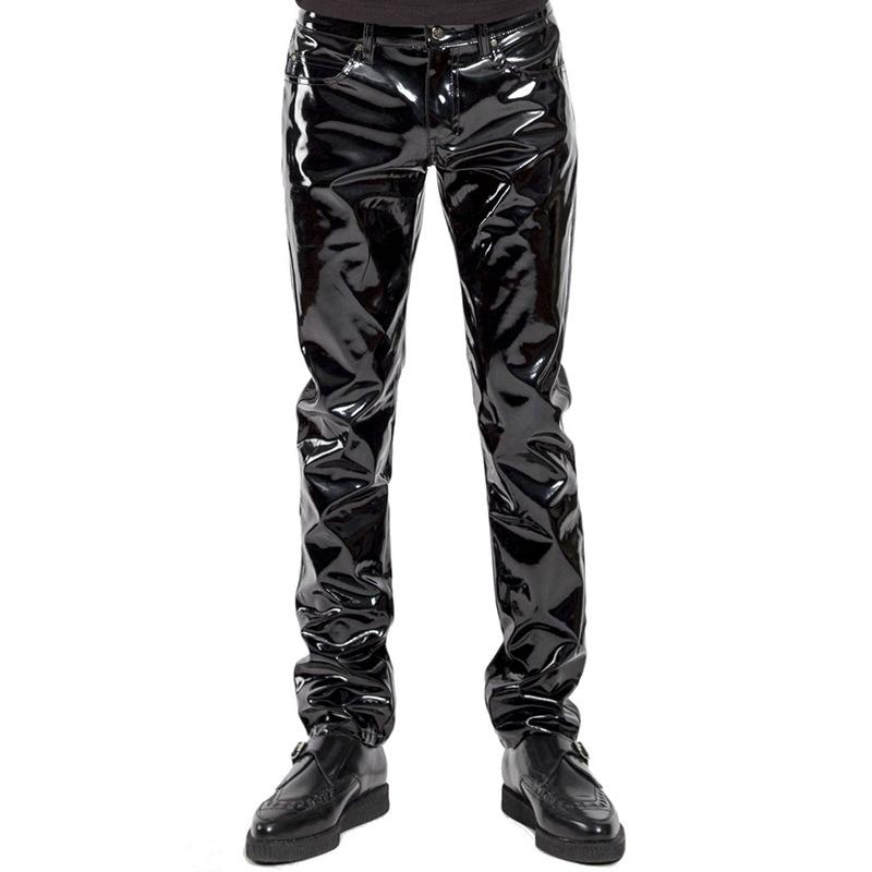 2019Men Skinny Faux Leather Leisure Pants Black PVC Shiny Pants Singers Club Performance On Stage Dancer