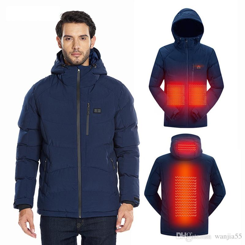 2019 Men Winter Outdoor USB Infrared Heating Hooded Jacket Electric Thermal Clothing Coat For Sports Climbing Hiking