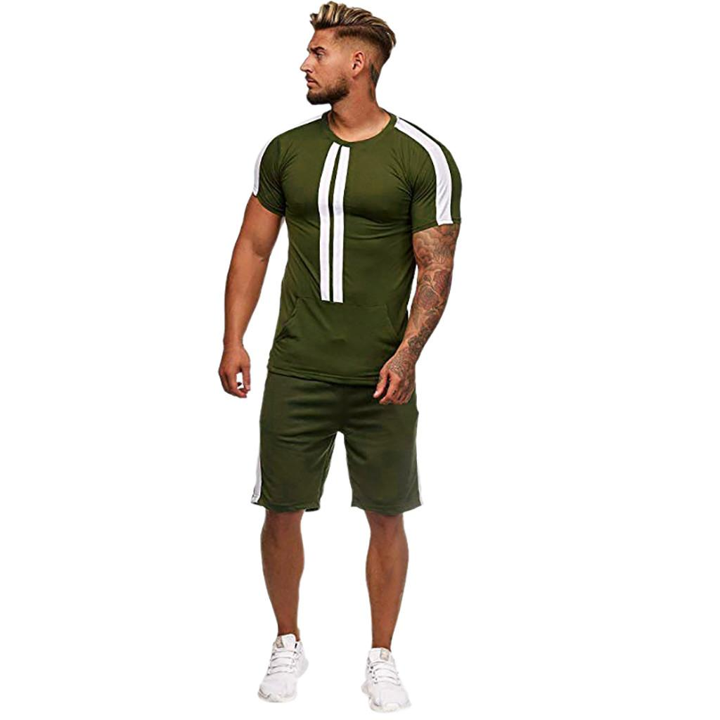 LNCDIS Sports Thin Sets Casual Mens Tute da uomo Estate Tempo libero Moda Collisione a colori Pantaloncini a maniche corte Uomo Set Tuta Q1