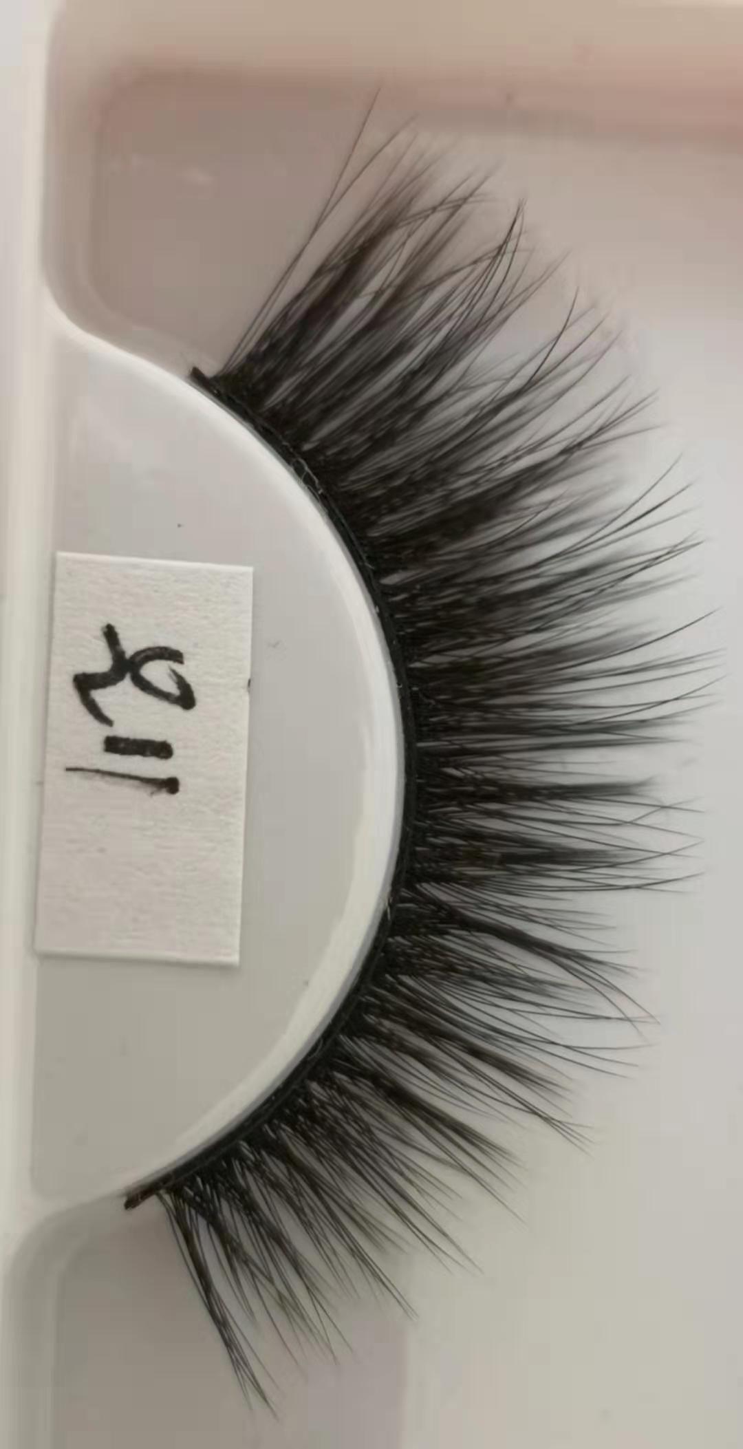 Q11 False eyelashes 3D chemical fiber 0.07 soft natural realistic custom brand custom packaging handmade wholesaler