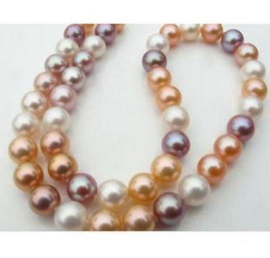 10-11mm runde weiße rosa lila Multiclor Perlenkette 18 Zoll 14k Gold Verschluss