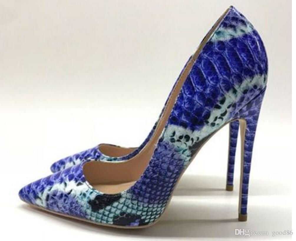 Zapatos de tacón alto de piel de serpiente azul, tacón superfino de mujer, zapatos puntiagudos individuales, banquetes, zapatos de baile para fiestas, 10 cm 8 cm 12 cm tamaño grande 44