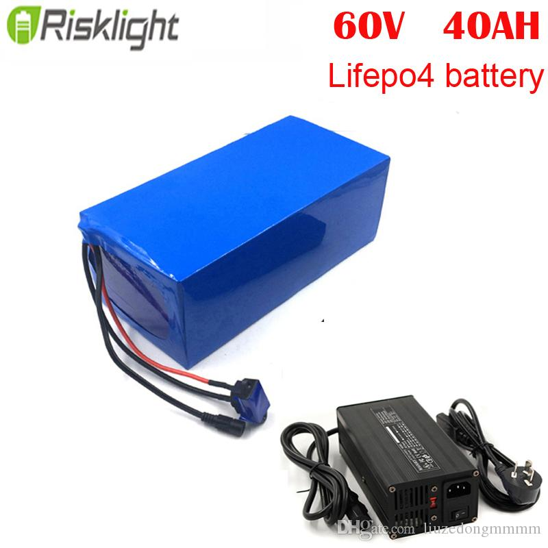 60V 40AH Electric bicycle bike kit scooter lithium battery LiFePO4 with 5A charger