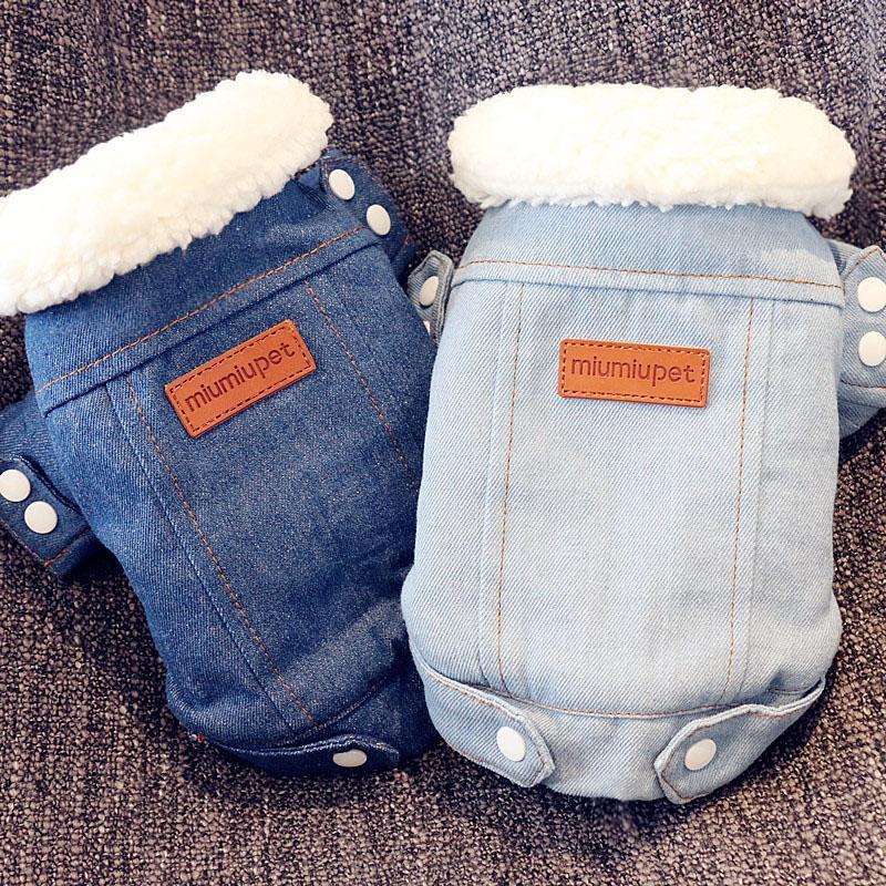 2020 Hiver chaud Veste Manteau Puppy Vêtements Tenues Denim Jeans Costume Bichon Chihuahua Caniche chien Vêtements Vêtements T88652
