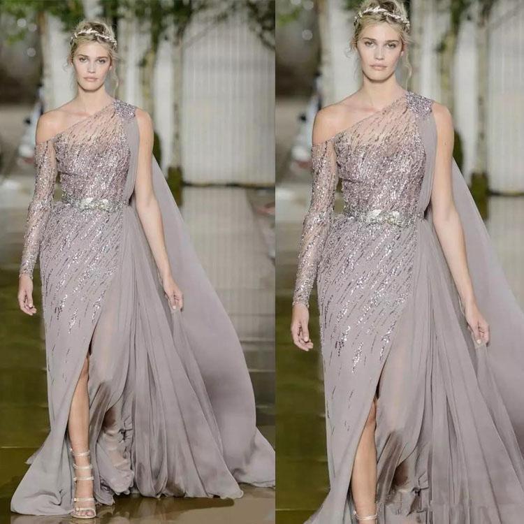 New Style Neckline Prom Dresses Luxury Beaded Sequins Side Split Pageant Runway Evening Gowns Side Split One Long Sleeve Vestidos De Festa