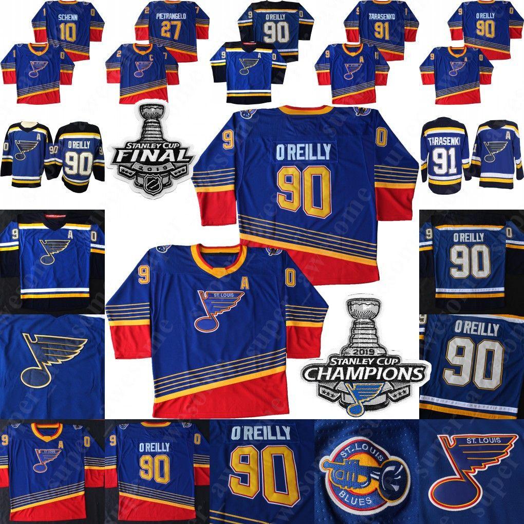 90s Vintage St. Louis Blues Vladimir Tarasenko Jersey Ryan O'Reilly (a) Alex Pietrangelo 50 Binnington Brayden Schenn Hóquei Jerseys Azul