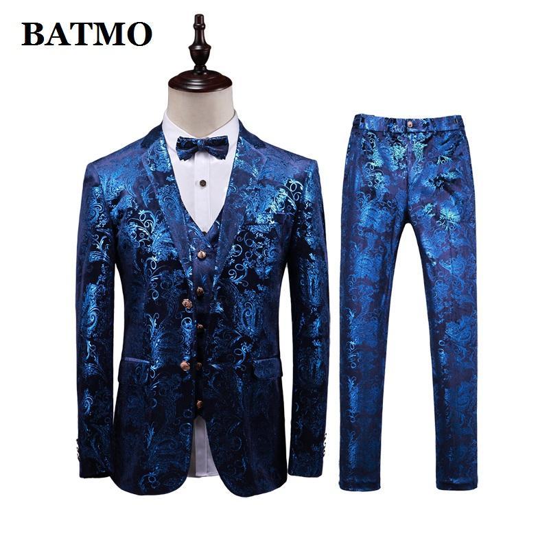 BATMO 2019 new arrival high quality men's wedding dress,men's fashion printed suits,casual suits men,plus-size M-5XL T373