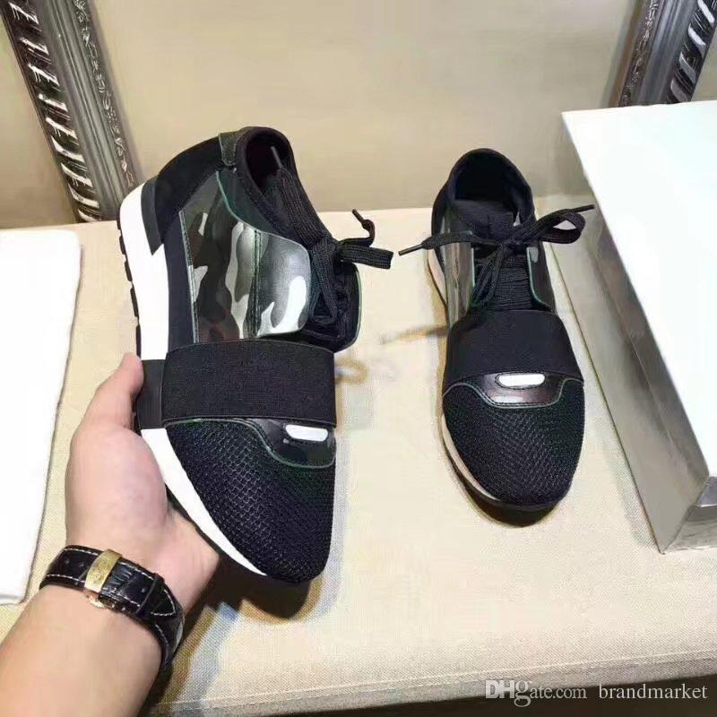 2018 nuevo diseñador de zapatos casual Parejas mujer del hombre del diseñador de moda clásico original de la caja de malla Trainer zapatos escotados malla Trainer Box Doble