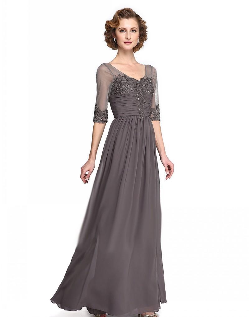 Серый мать невесты платья кружева аппликация бисер длинные длина пола жених матери платье дешевые свадебные гостевые вечерние платья